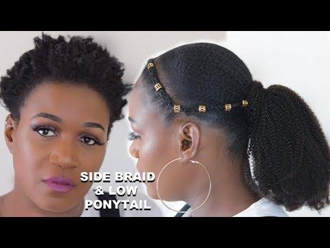 SLEEK LOW PONYTAIL ON SHORT NATURAL TYPE 4 HAIR | MYFIRSTWIG