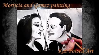 Gomez Morticia Ink Painting