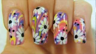 Colorful Hippie Flower Power Design with Water Marbling and Daisies Nail Art Tutorial