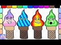 Learn Emotions With Funny Ice Cream Coloring Book For Kids