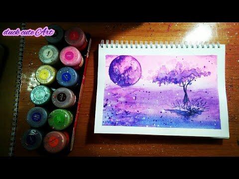 Painting Galaxy moon with watercolor. Vẽ tranh Galaxy mặt trăng bằng màu nước Thiên Long.