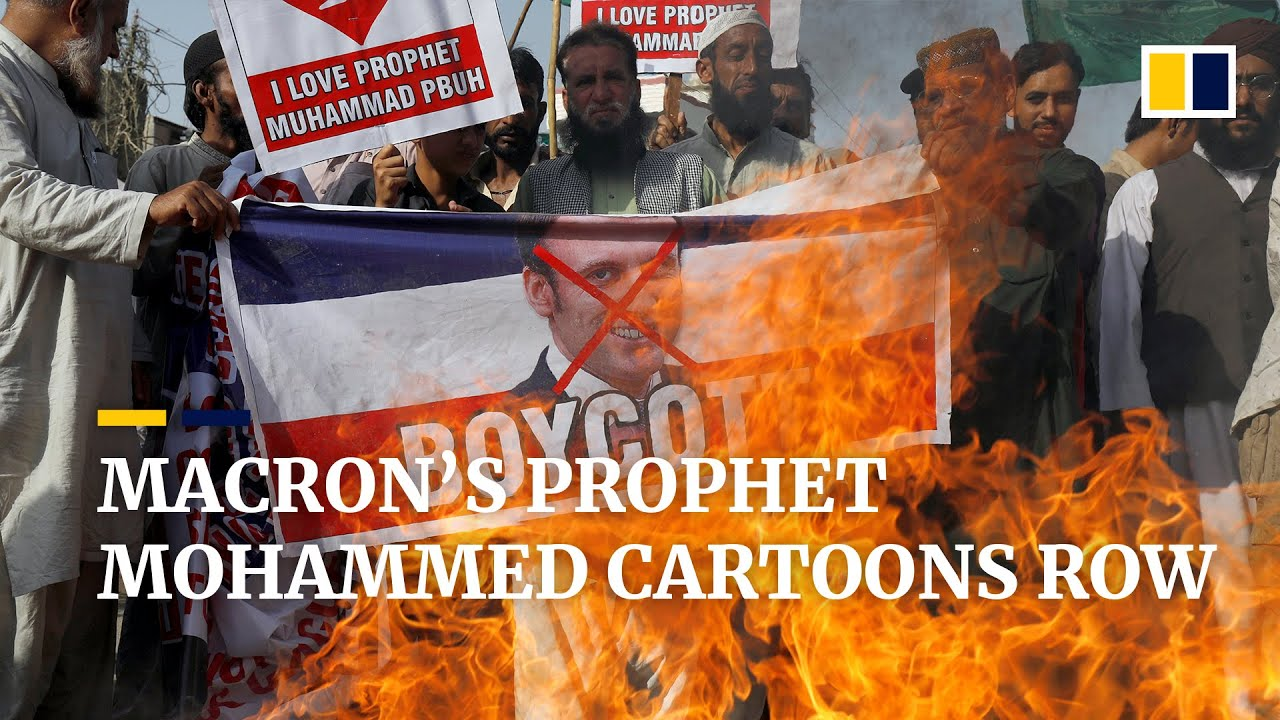 Muslims protest against French leader's defence of Prophet Mohammed cartoons, call for boycott
