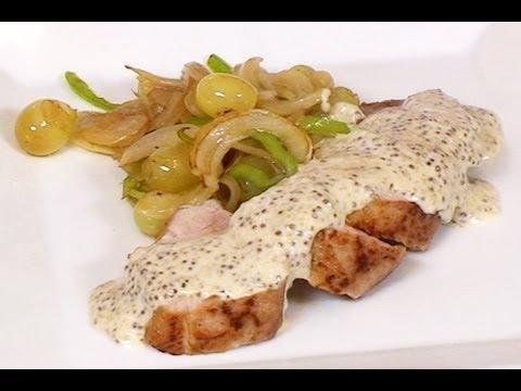 Solomillo de cerdo con pimientos uvas y salsa de mostaza - Solomillo de ternera al horno con mostaza ...