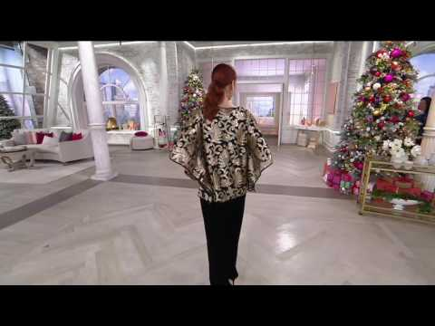 Bob Mackie's Sequin Floral Caftan and Long Sleeve Knit Top Set on QVC
