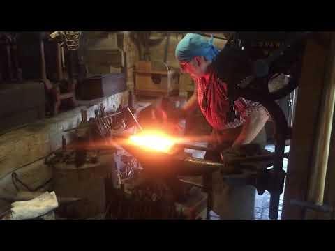 Blacksmith Charlie makes a gun barrel