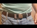 KULIROG  Leather Belt For Men with Automatic Buckle Ratchet Belt Adjustable Size Long 52""