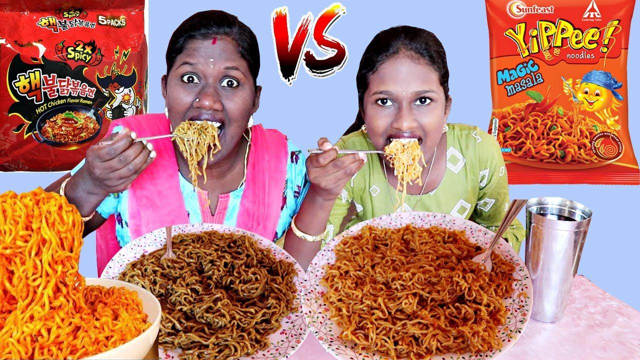 SPICY KOREAN NOODLES VS INDIAN NOODLES EATING CHALLENGE  IN TAMIL FOODIES DIVYA vs ANUSHYA