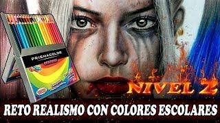 El RETO de dibujar REALISMO con colores ESCOLARES | PRISMACOLOR | Harley Quinn | Esteban Art