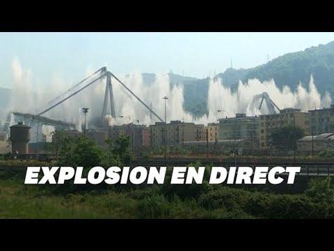 Les deux piles restantes du pont de Gênes détruites à l'explosif