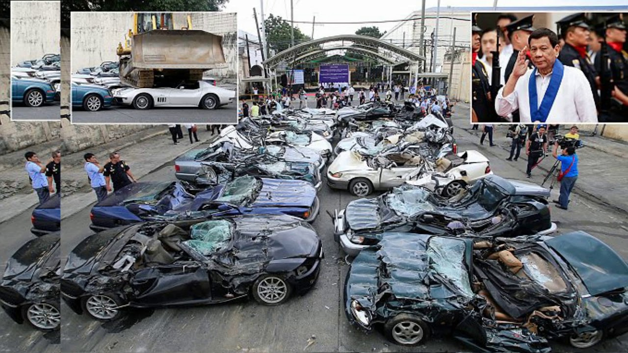 philippines crushes sports cars in duterte graft w arning. Black Bedroom Furniture Sets. Home Design Ideas