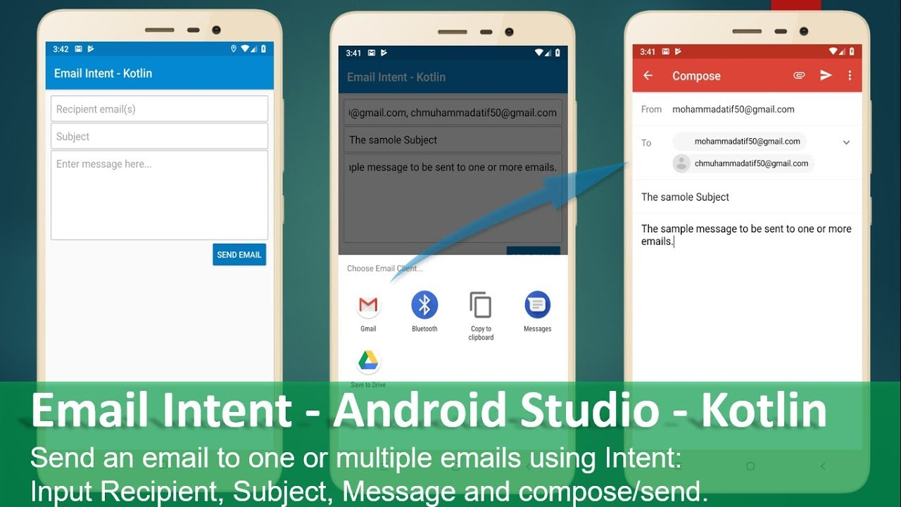 Send Email using Intent - Android Studio - Kotlin