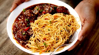Chow Mein & Manchurian Combo Recipe - Restaurant Style Smoky चाऊमीन मंचूरिया - cookingshooking
