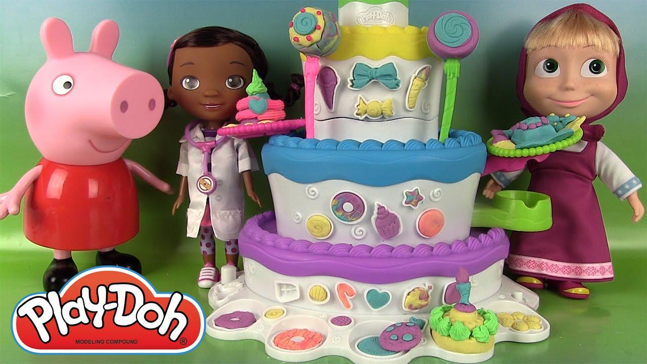 play doh le m 233 ga p 226 tissier cake mountain p 226 te 224 modeler avec peppa pig masha