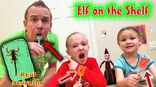 Evil Elf on the Shelf GM Pranks Us! Dad Eats a Scorpion Sucker!!!