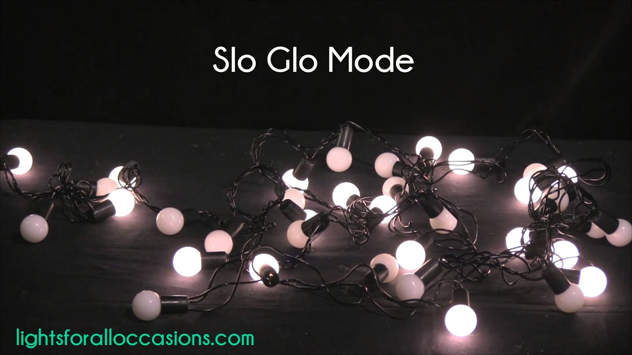 LED Mini Globe String Lights, 50 Bulbs, 17.5 ft. Black Wire, Multi-Function, Warm White - YouTube