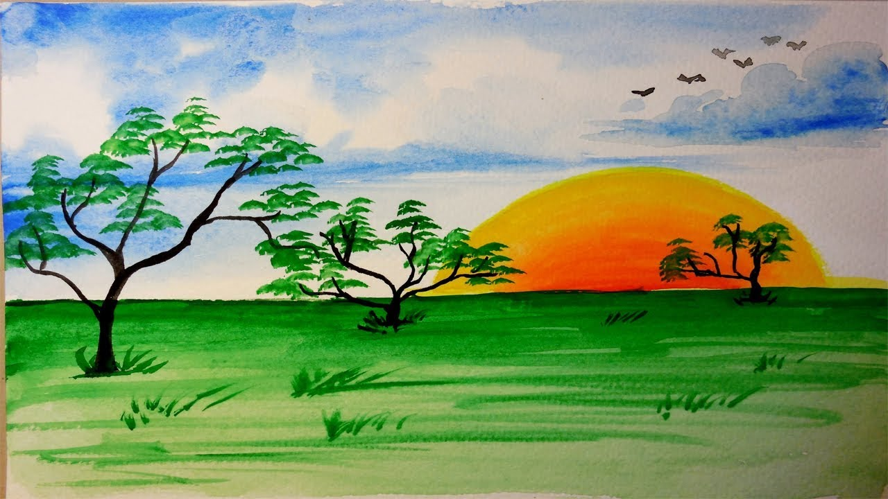 How To Draw Beautiful Nature Scenery Step By Step