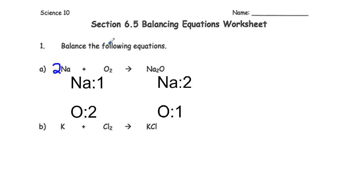 Section 6 5 Balancing Equations Worksheet Youtube