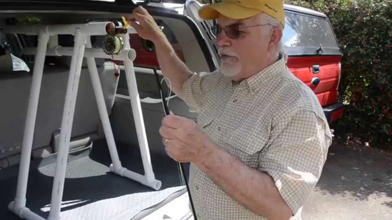 Using a pvc fly rod rack with a smaller vehicle youtube for Fishing rod holder for suv