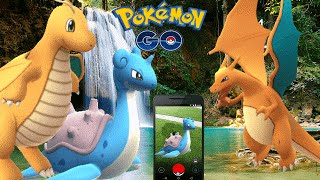 Wild Legendary Dragonite LAPRAS w/ Gym Stealing - Pokemon Go