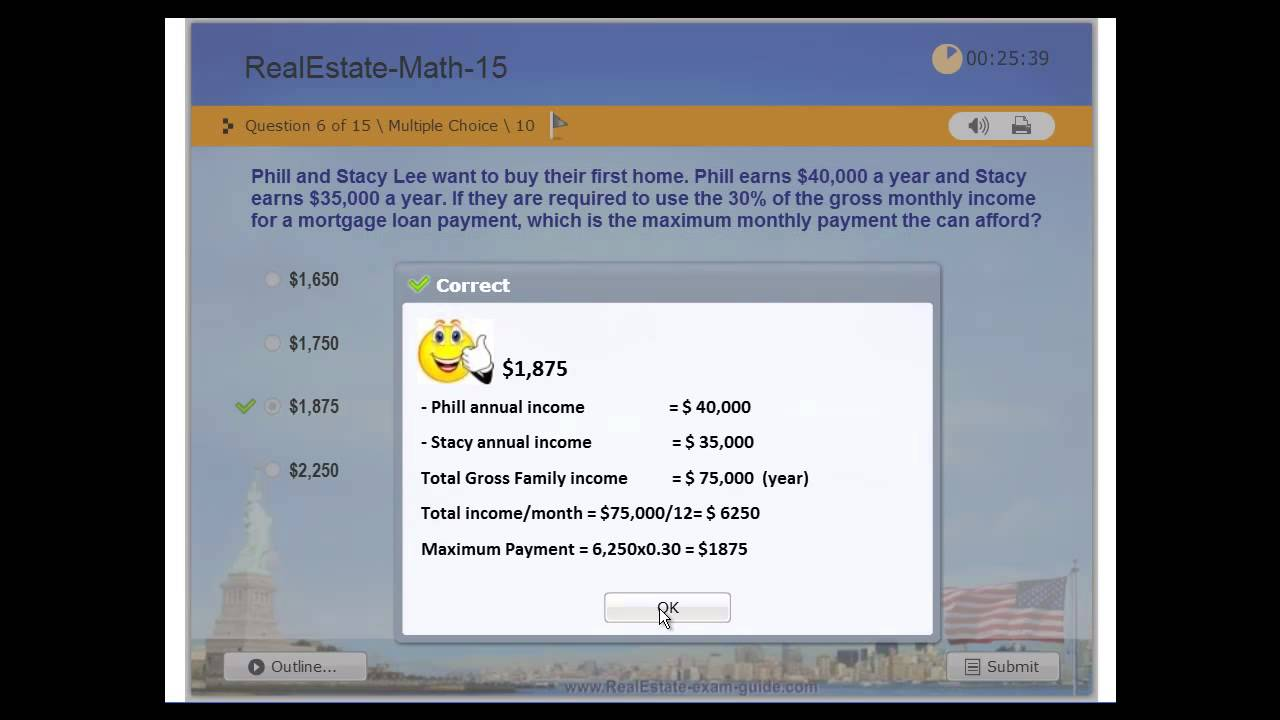 Real Estate License - Practice Exam # 7 - Real Estate Math - Exercises -  Free Test - USA