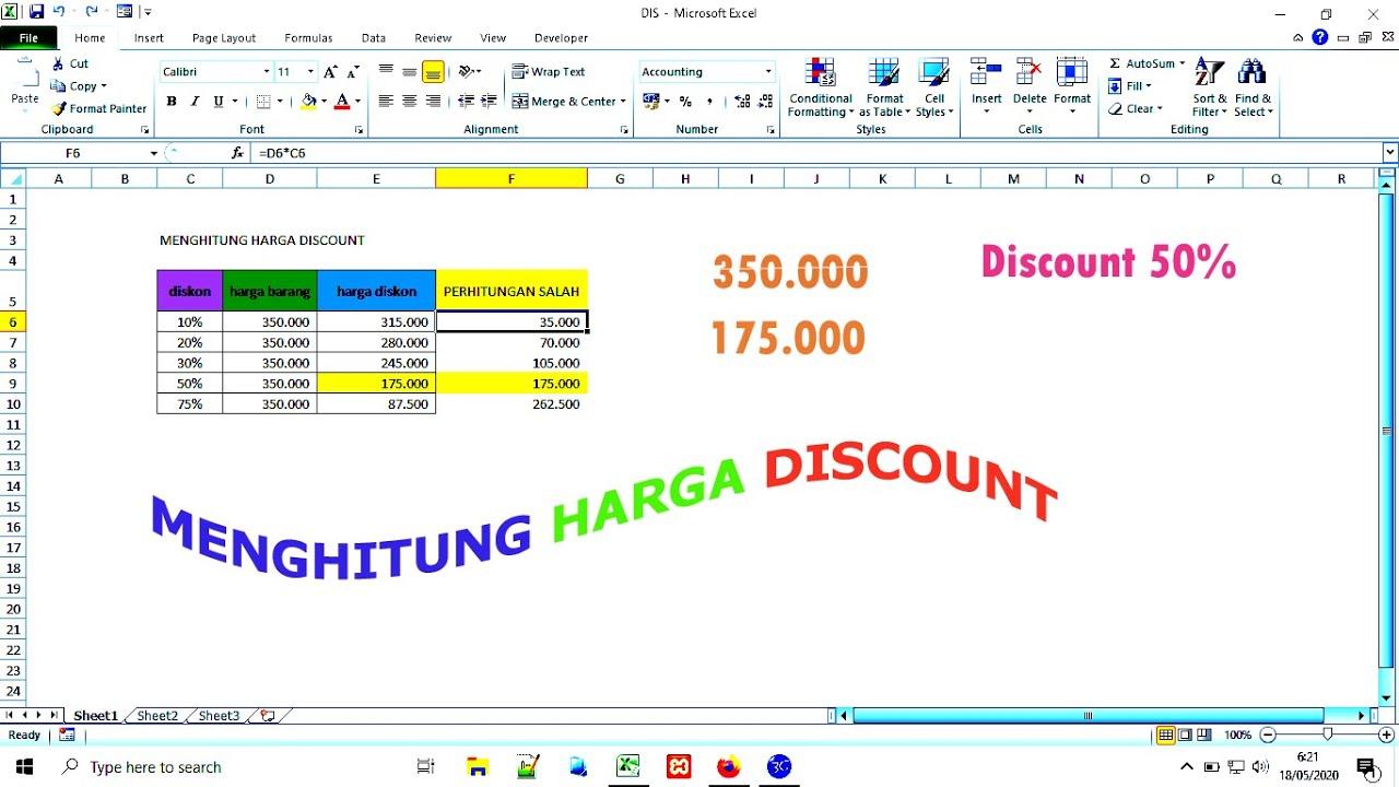Cara Menghitung Harga Diskon di Excel - YouTube