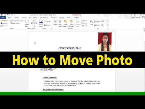How To Move Photo In Microsoft Word In Hindi/Urdu