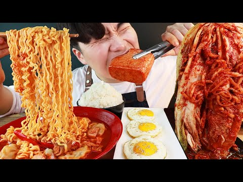 MUKBANG ASMR 집밥 열라면 김치 계란후라이 흰밥 통스팸 먹방 KOREAN HOME FOOD EATING SOUND!! الأرز المنزل Nhà gạo
