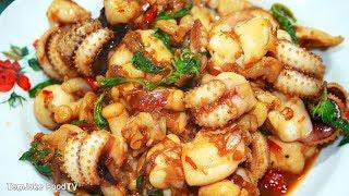 วิธีทำผัดกระเพราปลาหมึก ให้กรอบหอมไม่หดน้ำไม่นองเต็มจาน Thai Basil Squid