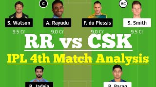 RR vs CSK Dream11 IPL 4th Match, RR vs CSK Dream 11  Today Match,  RR vs CSK Dream11 2020, IPL2020