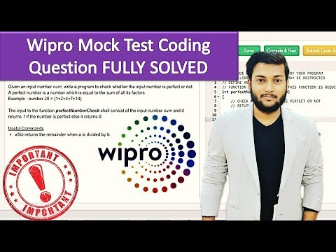 #4  Wipro Mock Test   Perfect Number Coding Question Fully Solved with  Detailed Explanation in C