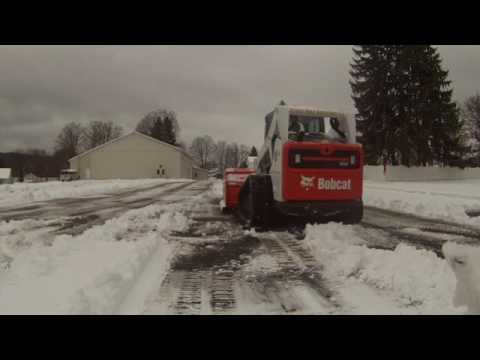 Plowing With Tracks Bobcat T650 Pushing Snow And Ram