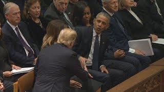 President Trump, President Obama shake hands at George H.W. Bush funeral