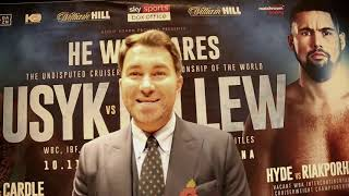 EDDIE HEARN TALKS USYK VS BELLEW AND PROPOSED PLAN FOR KHAN VS BROOK FOR SPRING 2019 !!!