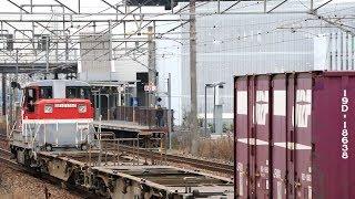 DE10牽引 貨物列車 山陽本線 北長瀬駅通過 Freight train, Sanyō Main Line Kitanagase Station (2019.3)