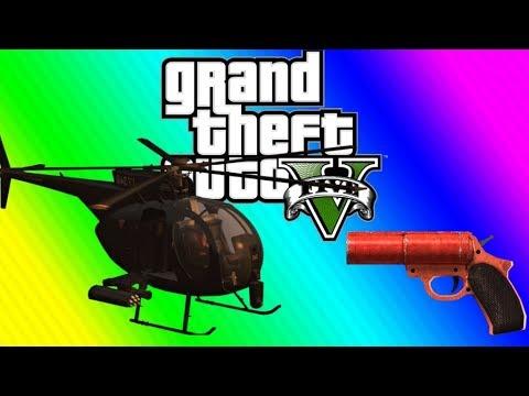 GTA 5 Online Funny Moments - Bridge, Flare Gun Magic, Buzzard