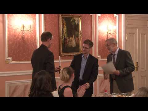Edward Snowden receives Sam Adams award in Moscow