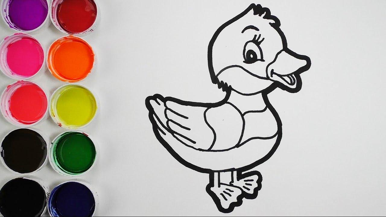 Dibuja Y Colorea Un Pato De Arco Iris Dibujos Para Niños Learn