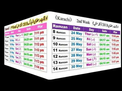 Ramadan Calendar - 2018 Schedule Sehr O Iftar Timing Karachi Pakistan Fiqh Hanafi