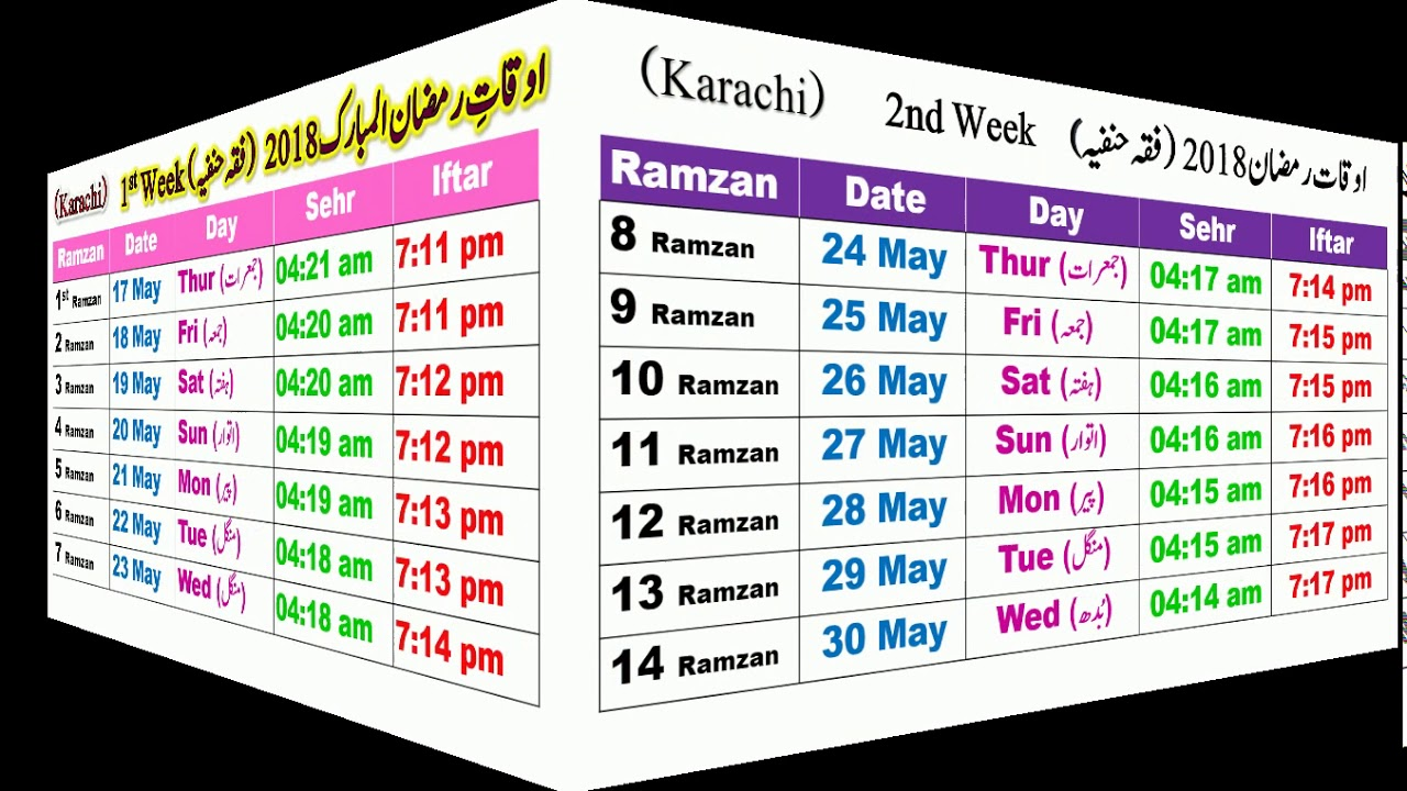 ramadan calendar 2018 schedule sehr o iftar timing karachi