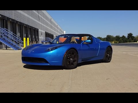 2009 Tesla Roadster in Electric Blue Paint & Engine Non Sound on My Car Story with Lou Costabile