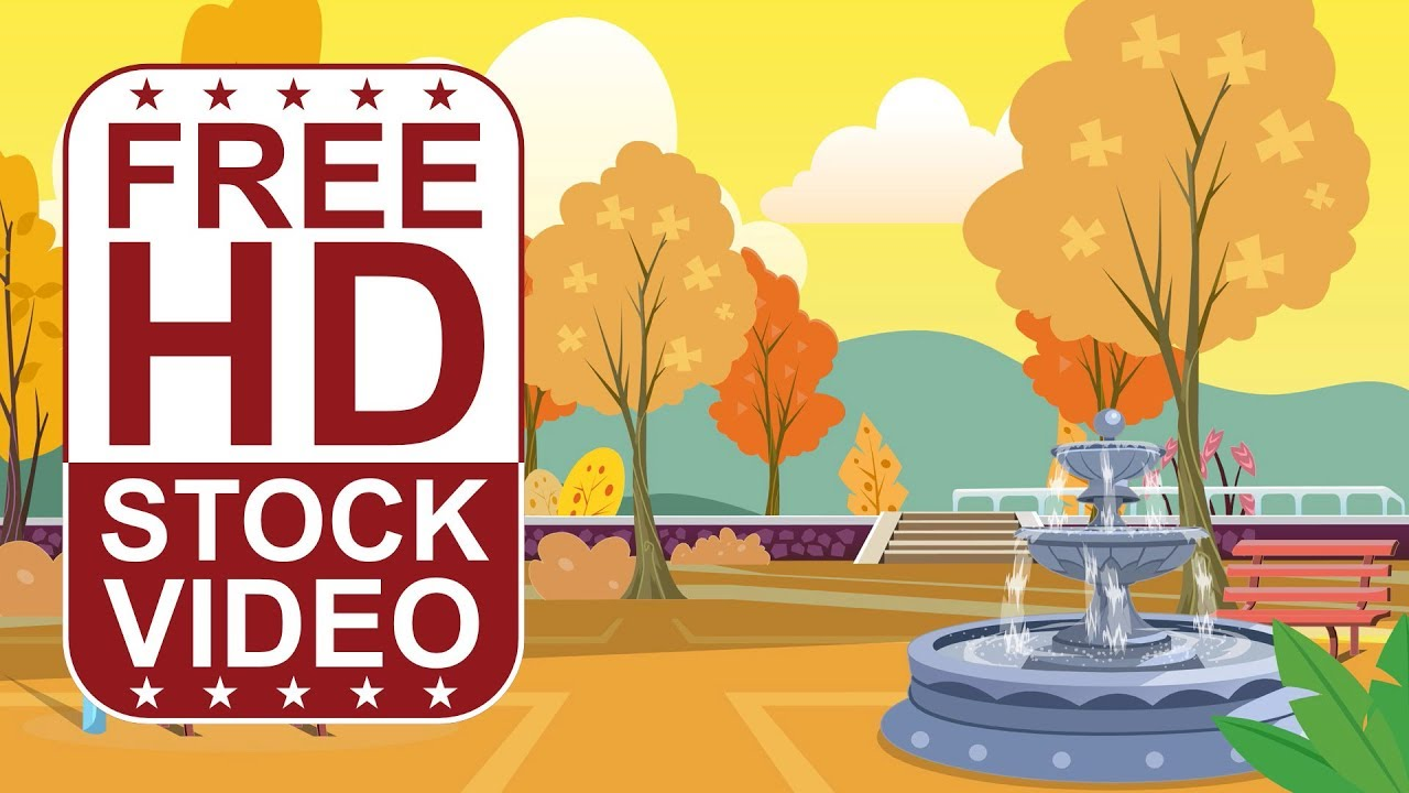 free hd video backgrounds – cartoon style scene park with fountain
