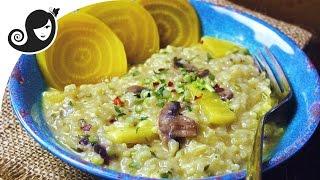 Golden Beetroot Risotto (vegan/vegetarian, Low-fat, Onion & Garlic-free)