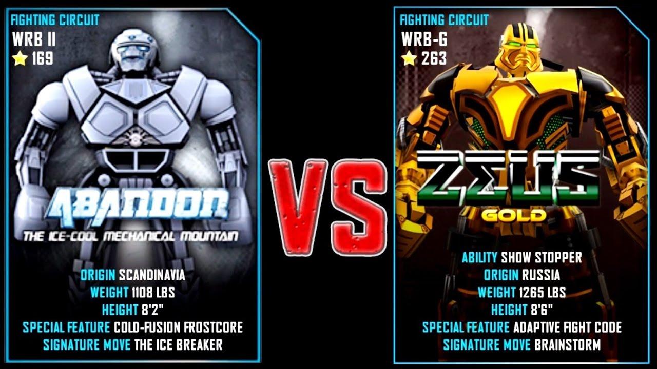 real steel wrb abandon vs zeus gold (champion) new robot updating
