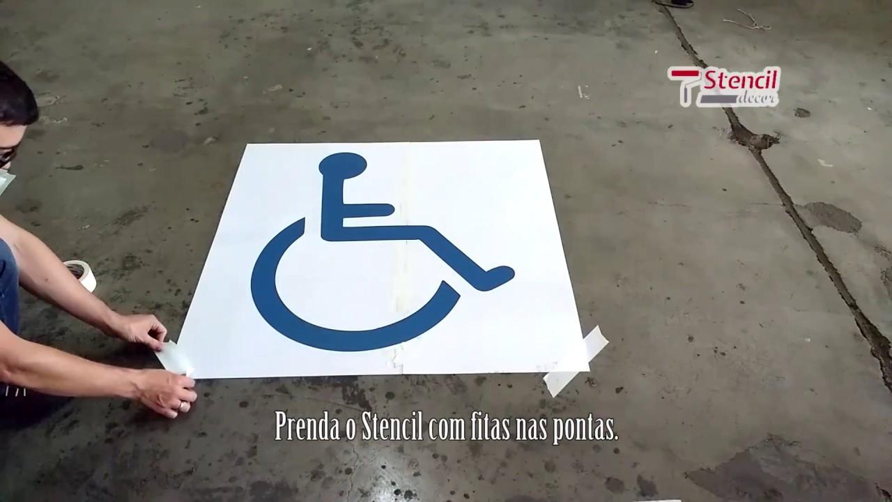 Adesivo Para Vaga De Deficiente ~ Como fazer Molde de Pintura Cadeirante no piso YouTube