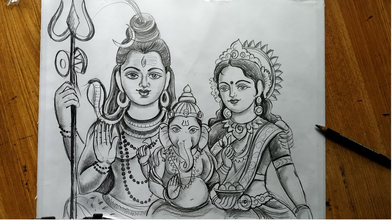 How To Draw Lord Shiva Mata Parvati And Lord Ganesha Lord Shiva