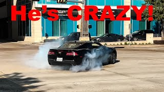 CAMARO Does DONUTS In the Middle of a BUSY STREET! - Cars and Coffee Houston November 2018
