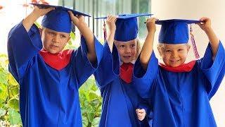 VLOG Выпускной день в Американском детском саду - Диана, Рома и Настя