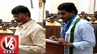 AP Assembly - CM Naidu & Opposition leader YS Jagan taking oath in the assembly