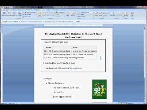 Displaying Readability Statistics in Microsoft Word 2007 (& 2003)