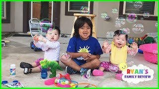 Twin Babies First time Playing with Family Fun Giant Bubble Toys!